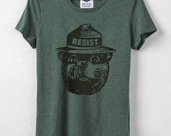 Smokey Resist - Women's T-Shirt - Resist Shirt -50-50 Blend Organic Cotton & Recycled Poly - Made in USA  + Smokey the Bear Resist - Pine