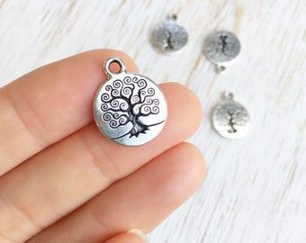 Antique Silver Tree of Life Charm by Tierracast 19mm / 4ct, Whimsical Tree Charm, Bodhi Tree, Woodland Charm, Yoga Tree Bead, (T94230312)