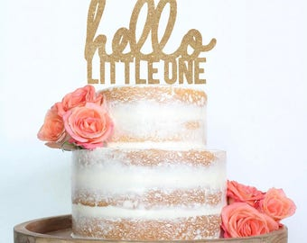 Hello Little One Baby Cake Topper for Baby Shower, Gender Reveal Party, Birthday Party - Gold Glitter Cupcake and Cake Topper