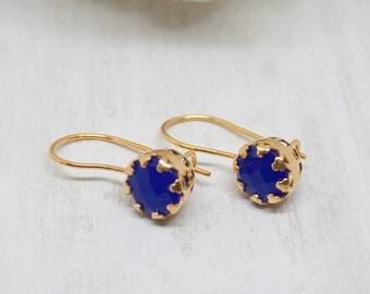 Yellow Gold Earrings chalcedony Blau Royalblau hook