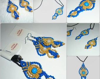 Blue & Gold Macrame Necklace and Earring with Beads
