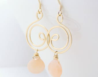 Moonstone and 14k gold-fill spiral wire wrapped earrings