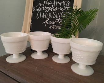 Four (4) Milk Glass Parfait or Beverage Glasses