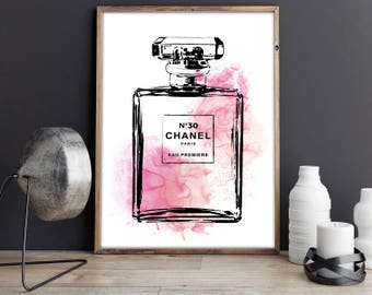 Chanel Print, Chanel Bottle, Coco Chanel, Fashion Art, Fashion Print, Chanel Wall Art. Perfume Bottle. Fashion Wall Art. Coco Chanel Decor.
