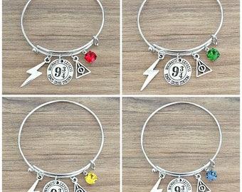 Hogwarts Express Kings Cross Station Platform 9 3/4 Harry Potter Bangle Charm Bracelet With Swarovski Hogwarts House Color