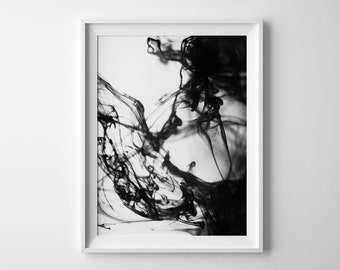 Abstract Art Print, wave print, abstract print, printable art, black and white art,Ink print, abstract poster, water print, large abstract