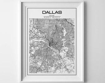 Dallas Texas Map with Coordinates, Dallas Map, Map Art, Map Print, Dallas Print, Dallas poster, Dallas Wall Art, Texas map, Wall Art