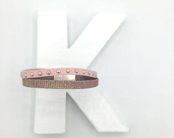 Double pink suede and silver hologram leather bracelet