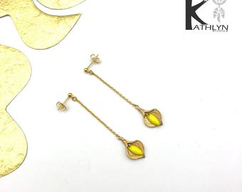 Yellow and gold Arum earrings