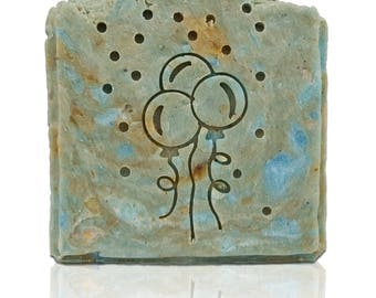 2 or 3 balloons Soap Stamp with Confetti - size in description - Available with or without handle (no functional need for handle)
