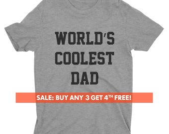 World's Coolest Dad T-shirt, Men's Crewneck Shirt, Cool Dad Shirt, Gift For Dad, Father's Day Gift, Short & Long Sleeve T-shirt