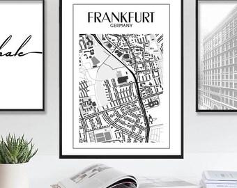Frankfurt, Frankfurt Print, Europe Maps, Frankfurt Poster, Printable Frankfurt City Map, Frankfurt Map Germany, Large Map, Instant Download