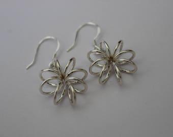 Handmade silver wire spiral earrings