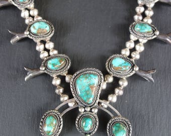 Squash blossom necklace. 153 grams, Royston turquoise, sterling silver, 1970s.