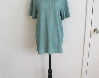 Mint to Be Top - 90s textured weave oversized blouse in sage green, S-L