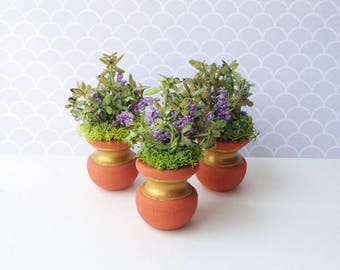 1:12 Scale Miniature Dollhouse Lilac and Moss Terra Cotta Planter