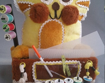 Yellow Kitty Sewing Organizer with Supplies