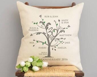 Personalised Pearl Anniversary Family Tree Cushion