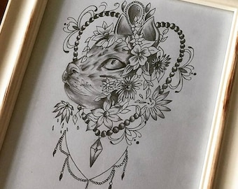 Framed cat original artwork