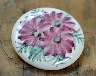 Ceramic Brooch, Hand Painted Brooch, Floral Brooch, Flower Brooch, Brooch, Porcelain Brooch, Floral Jewelry, Ceramic Jewelry, Gifts for Her