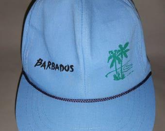 80s Barbados Islander Blue Snapback Baseball Cap Palm Trees Rope Detail Printed Graphic Vacation Resort Prep Hiphop Caribbean