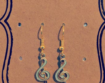 Hypoallergenic Gold Plated Treble Clef Music Earrings