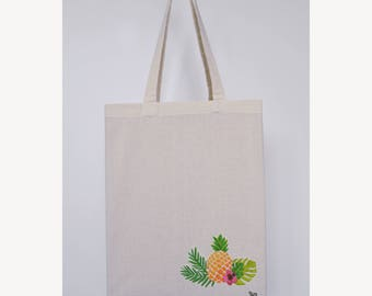 "Embroidered tote bag ""Pineapple Tropical"""