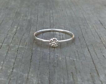 Blossom Ring, Stackable Flower Ring, Sterling Silver Stacker, Cherry Blossom Ring, Stackable Ring, Floral Ring, Dainty, Tiny Silver Ring