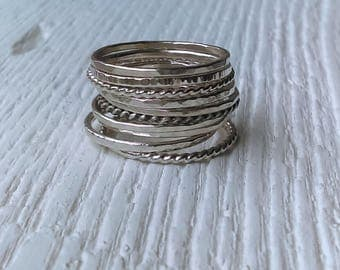 Silver Stack Ring, Stacking Rings, Silver Band, Sterling Silver Ring, Silver Stacking Ring, Silver Ring, Stackable Ring, Dainty Ring, Tiny