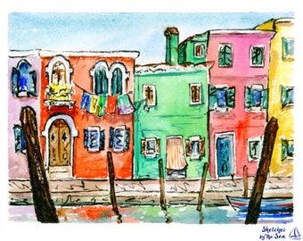 Colorful Burano, Venice, Watercolor Art Print