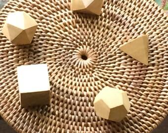 set platonic solids wood hand carved sacred geometry