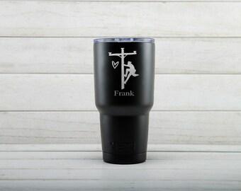 Yeti Tumblers Engraved With Lineman Personalized Yeti Tumblers 20 oz Lineman Yeti Gift For Men Lineman Yeti Rambler 30 oz Gift