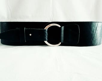 """Belt - Black Leather - Size L - 39"""" to 43"""" - 100 cm to 110 cm - with Round Chrome Buckle - Big Belt - Plus Size"""