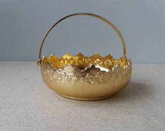 Vintage Candy Bowl Soviet Candy Dish Soviet Metal Sugar Bowl Vintage Gold Tone Candy Bowl Soviet Candy Basket Aluminium Bowl Metal Bowl
