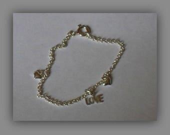 Sterling Silver Bracelet, Silver Heart Bracelet, Delicate Bracelet, Romantic Gift, Valentines Gift, Dainty Heart Gift, Tiny Bracelet,