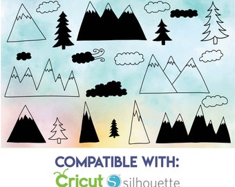 Hand drawn mountains and forrest svg - Mountain SVG, EPS, DXF - Adventure cut files - Commercial use cut files for Cricut & Silhouette