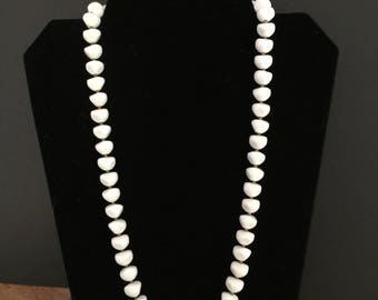 Unusual shaped vintage white bead necklace