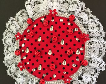 Black and red polka dot ladybug and lace embroidery hoop wall hanging