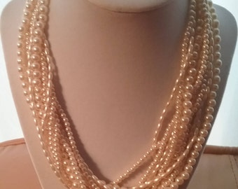 Mid-Century Multi Strand Faux Pearls