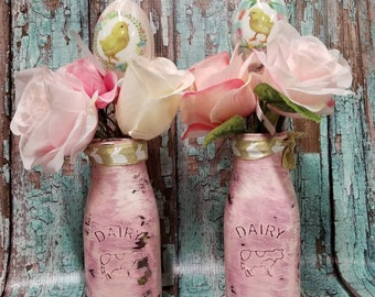 Pink Shabby Chic Distressed Dairy Glass Milk Bottle Jars Easter Decor Vintage Rustic Flowers Easter Eggs Bunny Ribbon
