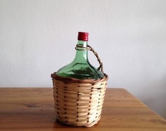 Demi - Demijohn - 2L - screw cap - basket - vintage