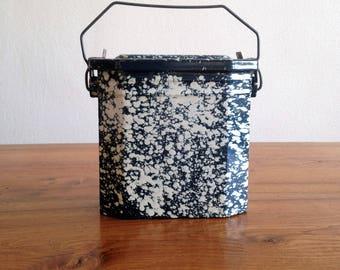 Old box lunch - blue granite enamel - 1950 - France