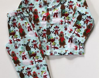 Toddler Boys Cotton Flannel Pajamas - Winter Woodland Animals