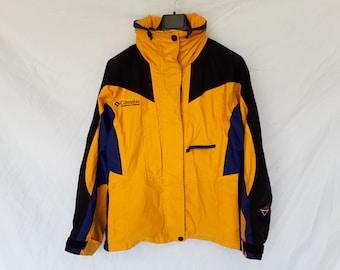 COLUMBIA jacket yellow canvas dark blue jacket, vintage jacket