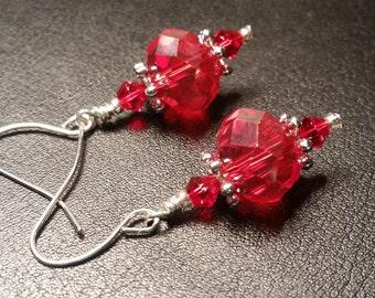 Red Crystal Glass Drop Dangle Silver Wire Handmade Earrings