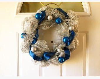 Christmas Wreath blue and silver wreath snowflake wreath christmas ornament wreath wreath for christmas front door wreath