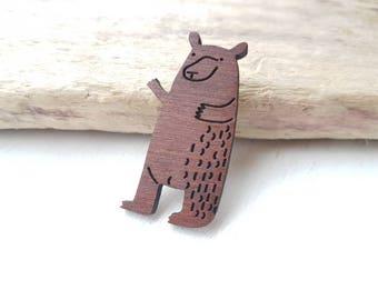 Bear brooch. Bear badge. Bear jewellery. Bear jewellery. Brown bear brooch. Bear & hare advert. Christmas bear woodland bear Woodland animal