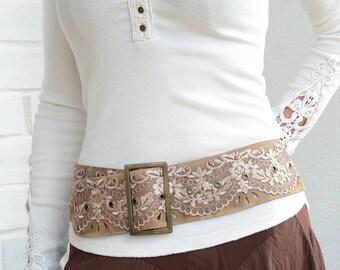 Wide leather belt Boho belt Boho chic clothing Handmade belt Hip belt Leather belt for women Wide belt Womens leather belt Plus size belt