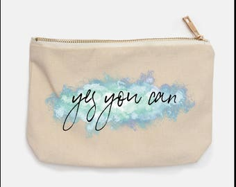 Pencil Case | Pencil Pouch | Cosmetic Bag | Back-to-school | Watercolor | Inspirational