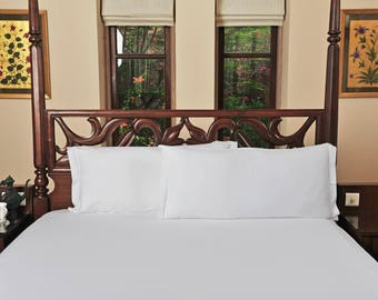 Organic Bedding Set Quintessential Delight 1 Fitted sheet and 2 Pillowcases 100% GOTS Certified Organic Cotton White Color